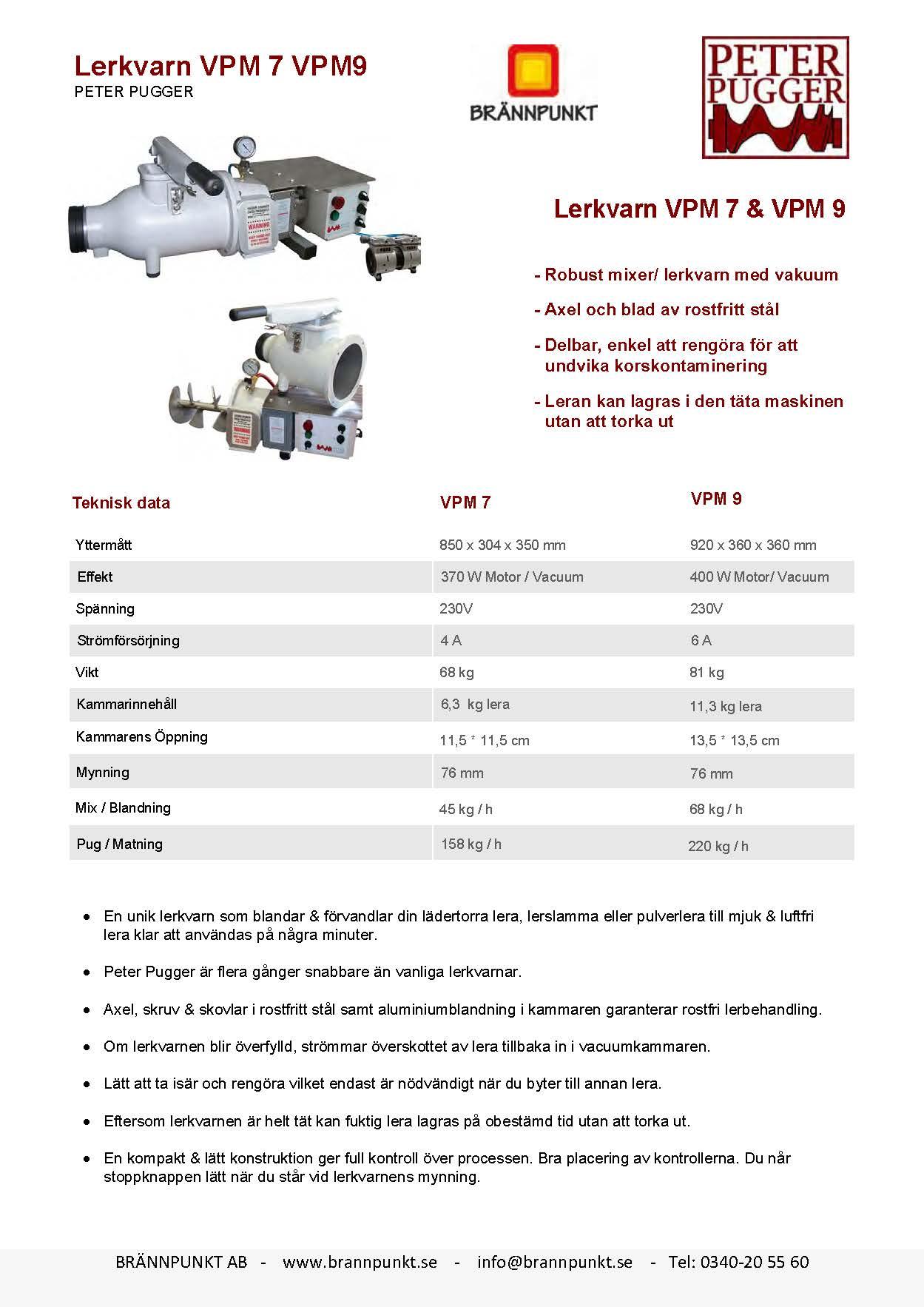 Lerkvarn / lerblandare från Peter Pugger modell VPM7 och VPM9